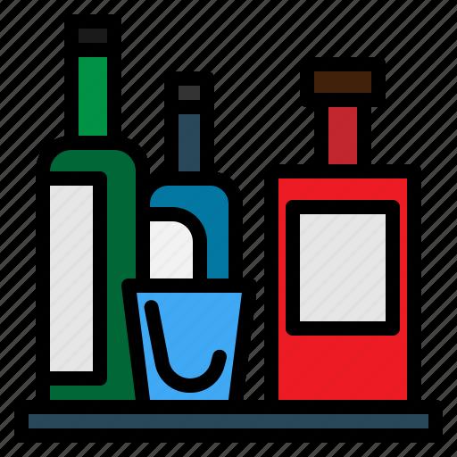 bottle, hotel, minibar, service icon