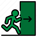 door, emergency, escape, exit, fire icon