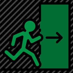 door, emergency, escape, exit, fire icon