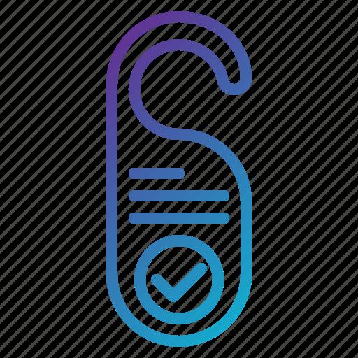 doorknob, handle, hanger, hotel, sign icon