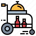cart, food, hotel, room, tray icon