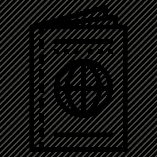 document, identification, identity, passport, travel icon