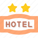 hotel, service, star, two icon
