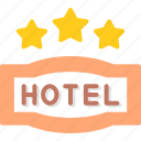 hotel, service, star, three icon