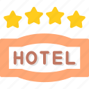 four, hotel, service, star icon