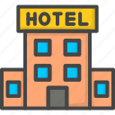 building, filled, hotel, outline, service