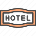 filled, hotel, outline, service, sign icon