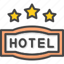 filled, hotel, outline, service, star, three icon