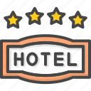 filled, four, hotel, outline, service, star icon