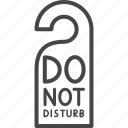 do not disturb, hotel, line, outline, service, sign