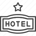 hotel, line, outline, service, star