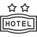 hotel, line, outline, service, star, two