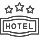 hotel, line, outline, service, star, three icon