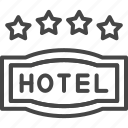 four, hotel, line, outline, service, star
