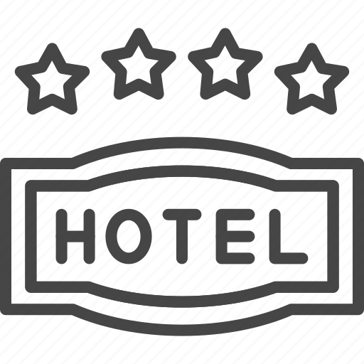 four, hotel, line, outline, service, star icon