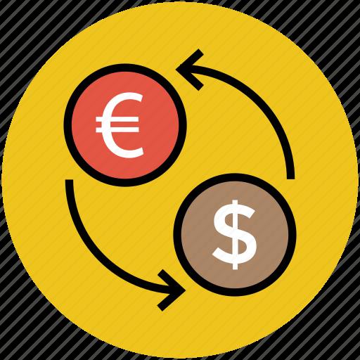 currency converter, dollars, euro, money exchange, money transfer icon
