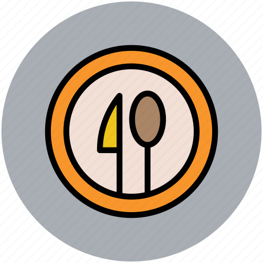 dining, food, knife, plate, restaurant, serving, spoon, tableware icon