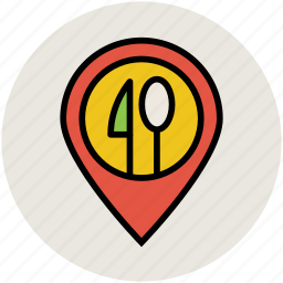 cafe location, gps, hotel location, location pin, map pin, restaurant location icon