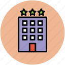 building, hotel, hotel building, luxury hotel, real estate, three star hotel icon
