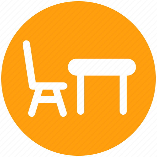 chair and table, desk and chair, eating chair and table, furniture, table icon