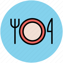 cutlery, dining, eating, food, fork, knife, plate, restaurant icon