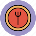 dining, eating, food, fork, plate, restaurant, tableware icon