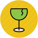 alcohol, beverage, cracked glass, drink, glass, wine icon