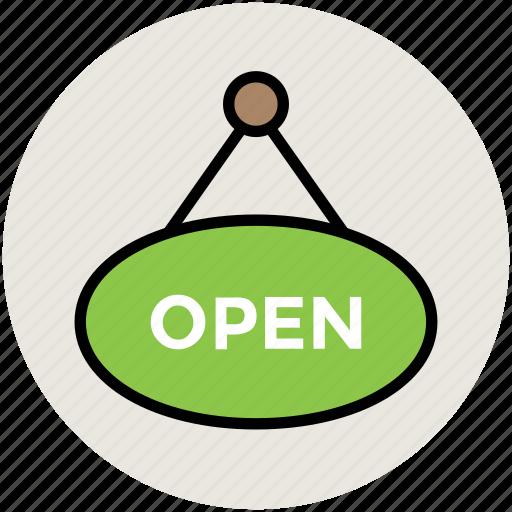hanging board, information, information board, open, open shop, open signboard icon