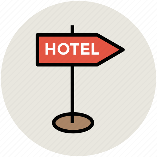 direction sign, hotel fingerpost, hotel guidepost, hotel signpost, road sign icon