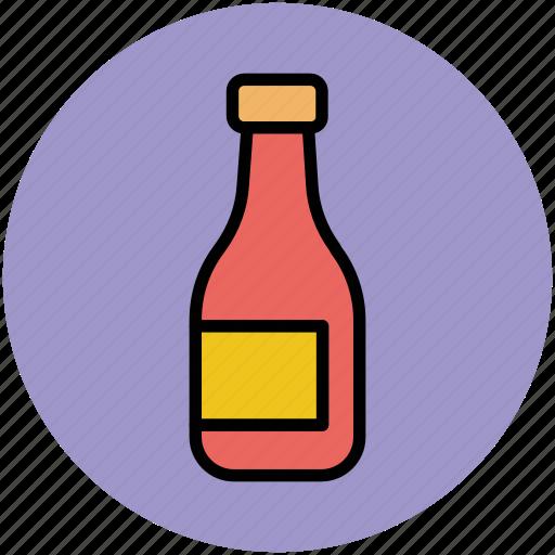 alcohol bottle, bottle, drink, sauce bottle, wine bottle icon
