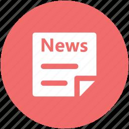 communication, journalism, news, newspaper, print media, reportage, social media icon