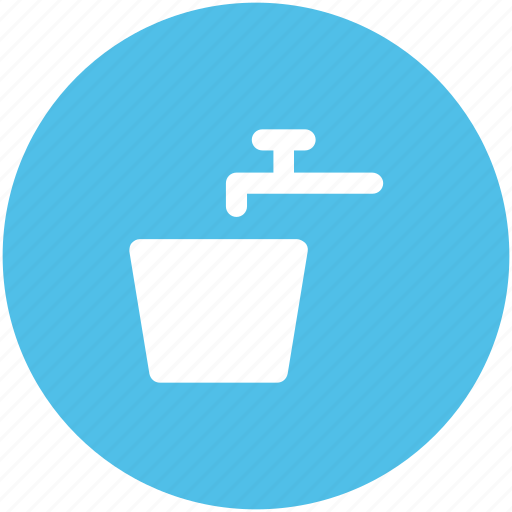 bucket, faucet, nal, tap, water bucket, water faucet, water pail, water tap icon