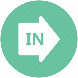 arrow, in arrow, log in, pointing, right, round, sign in icon