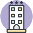 hotel, hotel building, lodge, luxury hotel, three star hotel icon
