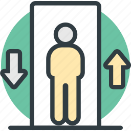electric elevator, elevator, elevator lift, men in elevator, vertical transport icon