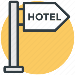 direction post, finger post, hotel direction, hotel guidepost, hotel signpost icon