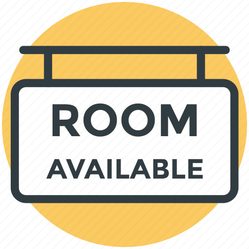 hanging board, hotel sign, info board, rooms available, rooms signboard icon