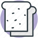bakery food, bread, bread slice, breakfast, toast icon