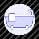 1, amenities, bathroom, bathtub, holiday, home, hotel, rental, spa, towel, trip, vacation icon