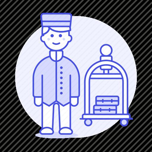 1, bellboy, bellhop, check, hotel, in, luggage, male, receptionist, service, spa, trolley icon
