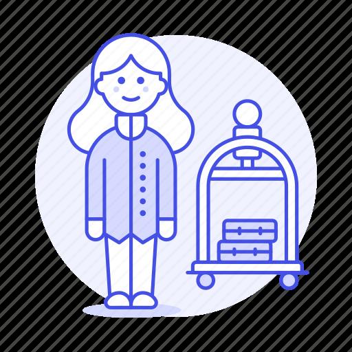 2, bellboy, bellhop, check, female, hotel, in, luggage, receptionist, service, spa, trolley icon