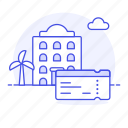 beach, building, day, holiday, hotel, palm, resort, spa, ticket, tree, trip, vacation icon