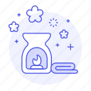aroma, candle, diffuser, hotel, massage, meditation, oil, relaxation, spa, therapy, towel icon