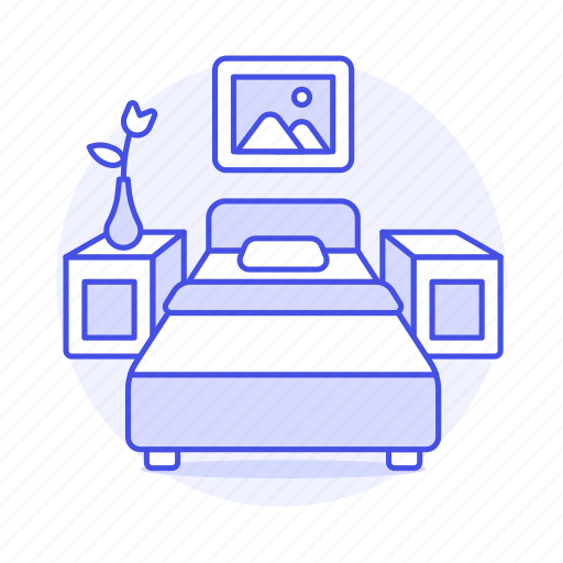 bed, bedroom, holiday, home, hotel, lamp, nightstand, rental, room, single, spa, trip, vacation icon