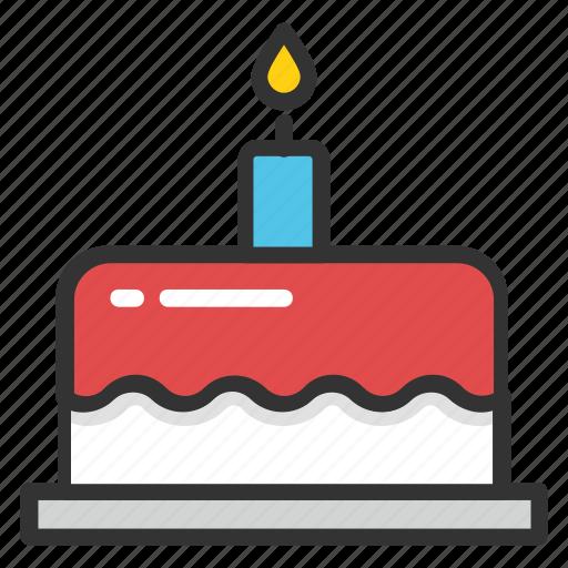 bakery food, bakery item, birthday cake, cake, cake with candle icon