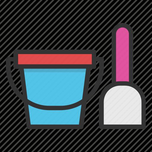 beach bucket, bucket and spade, holiday in, sand bucket, seaside icon