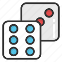 board game, casino dice, dice, ludo, two game dices icon