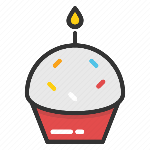 birthday cupcake, cupcake with candle, cupcake with sparkler, first birthday cake, make a wish icon
