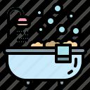 hotel, bathtub, bathroom, curtain, bath