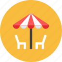 chair, outdoor, umbrella icon